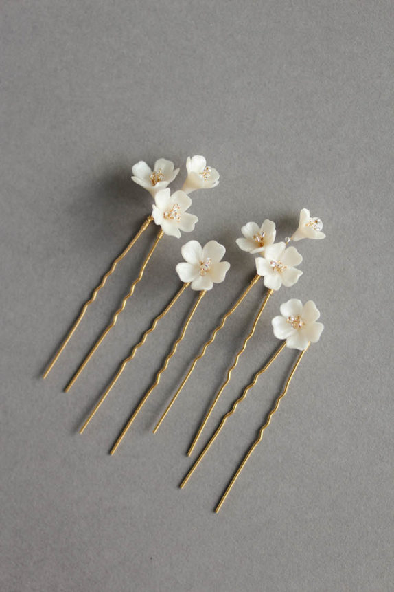 WHISPER ivory flower hair pins 1