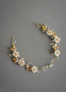 Bespoke for Samantha_gold Poetic bridal headpiece with scattered flowers and pearls 1