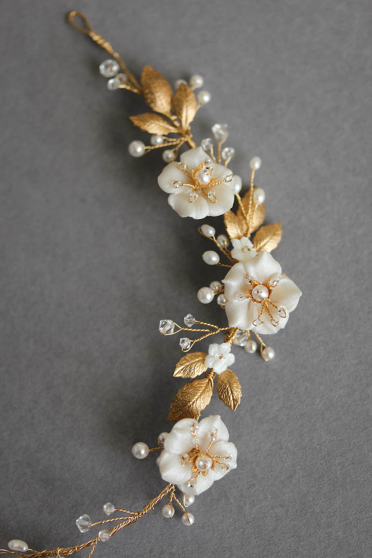 Bespoke for Samantha_gold Poetic bridal headpiece with scattered flowers and pearls 3