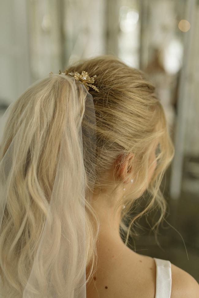 GEMINI gold floral hair piece for bridal ponytails
