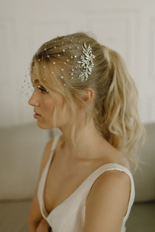 STARGAZER crystal birdcage veil for wedding ponytails