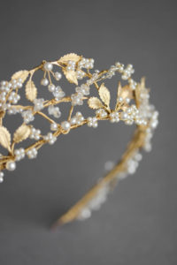 Bespoke for Yasmine_pearl and gold wedding crown 4