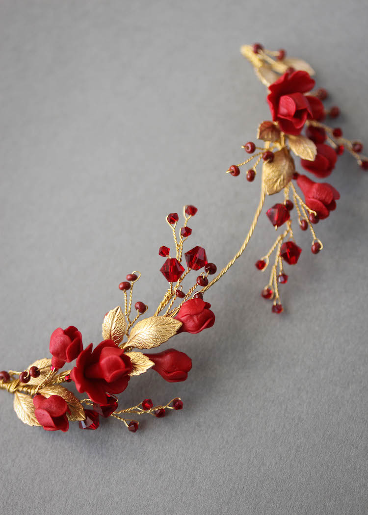 Forbidden Fruit_Red and gold wedding headpiece 2