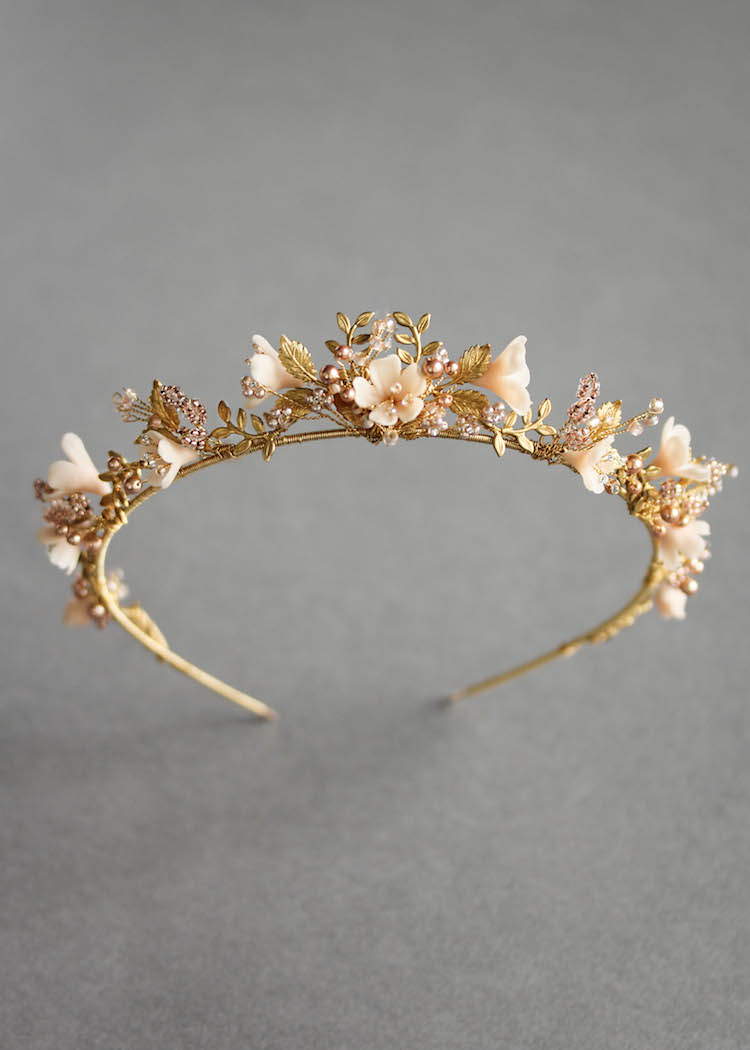 Wild Flowers_gold and blush floral wedding crown 1