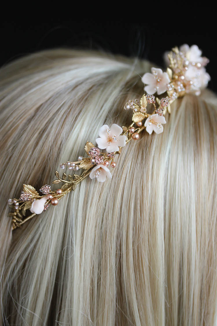 Wild Flowers_gold and blush floral wedding crown 3
