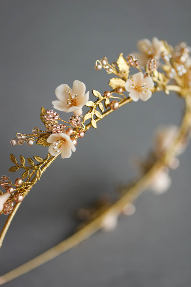 Wild Flowers_gold and blush floral wedding crown 5