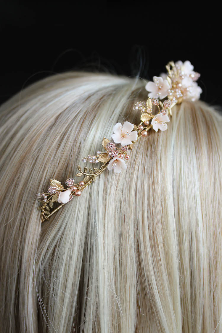 Wild Flowers_gold and blush floral wedding crown 9