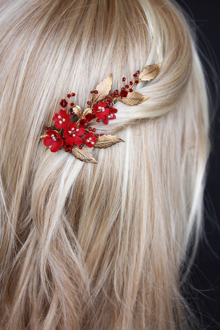 PHOENIX red and gold hair comb 2