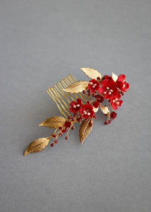 PHOENIX red and gold hair comb 4