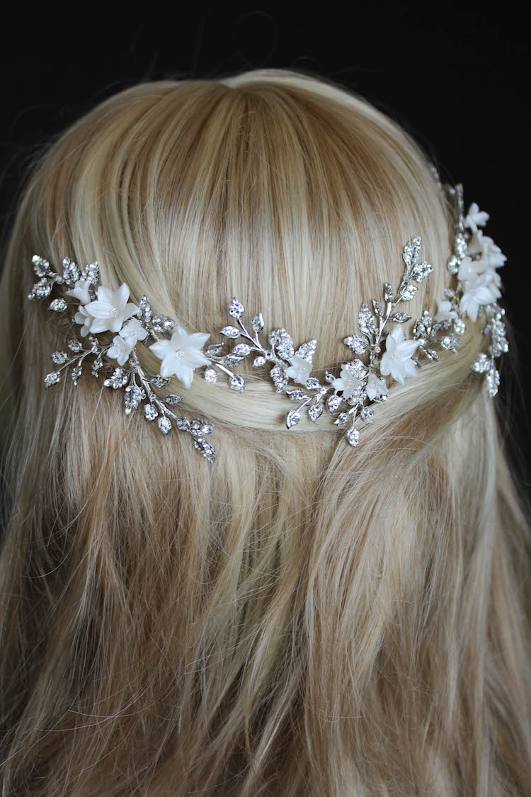Bespoke for Nadine_floral bridal headpiece ANAIS with ivory flowers 4