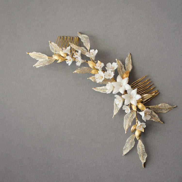 Golden Allure | A gold wedding headpiece for bride Cathy