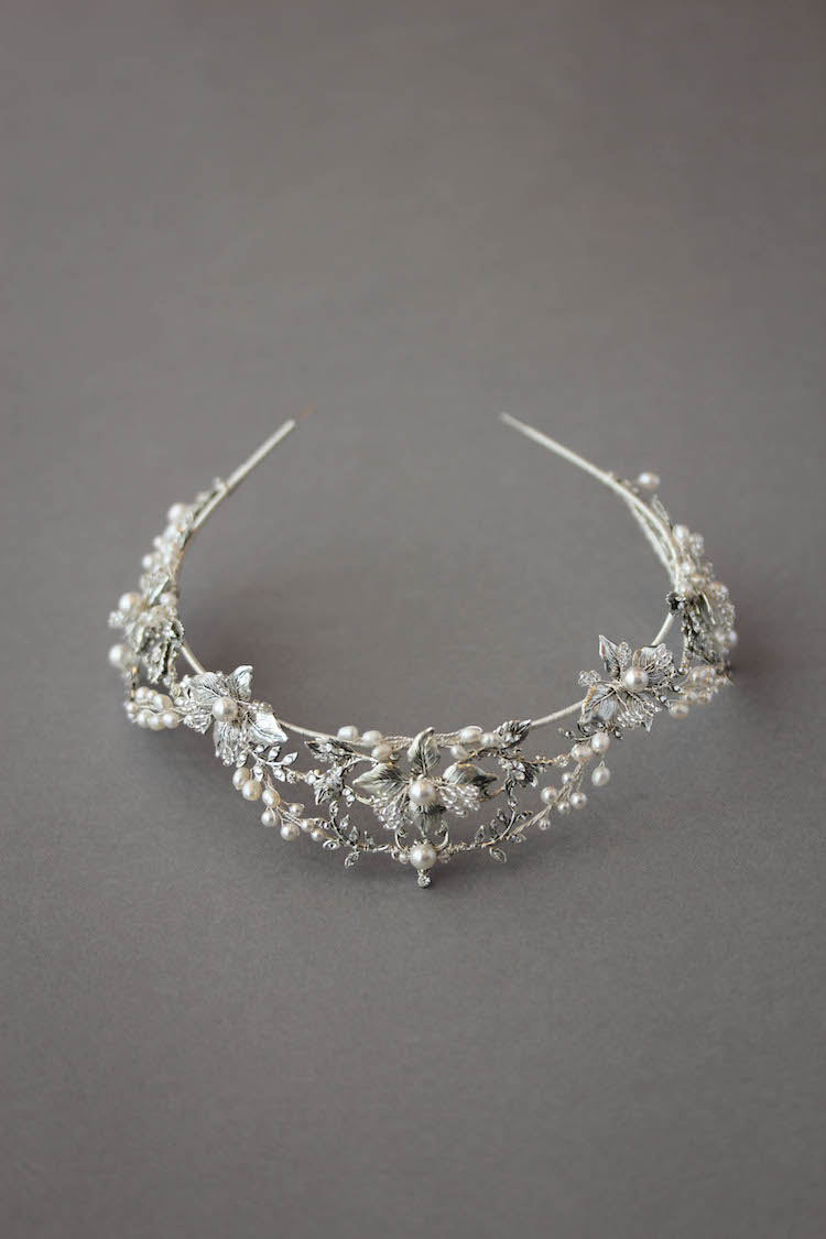 Bespoke for Ryonna_silver wedding crown with pearls 2