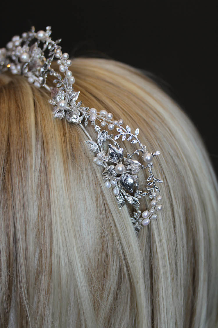Silver Lining | Regal wedding crown with pearls for bride Ryonna