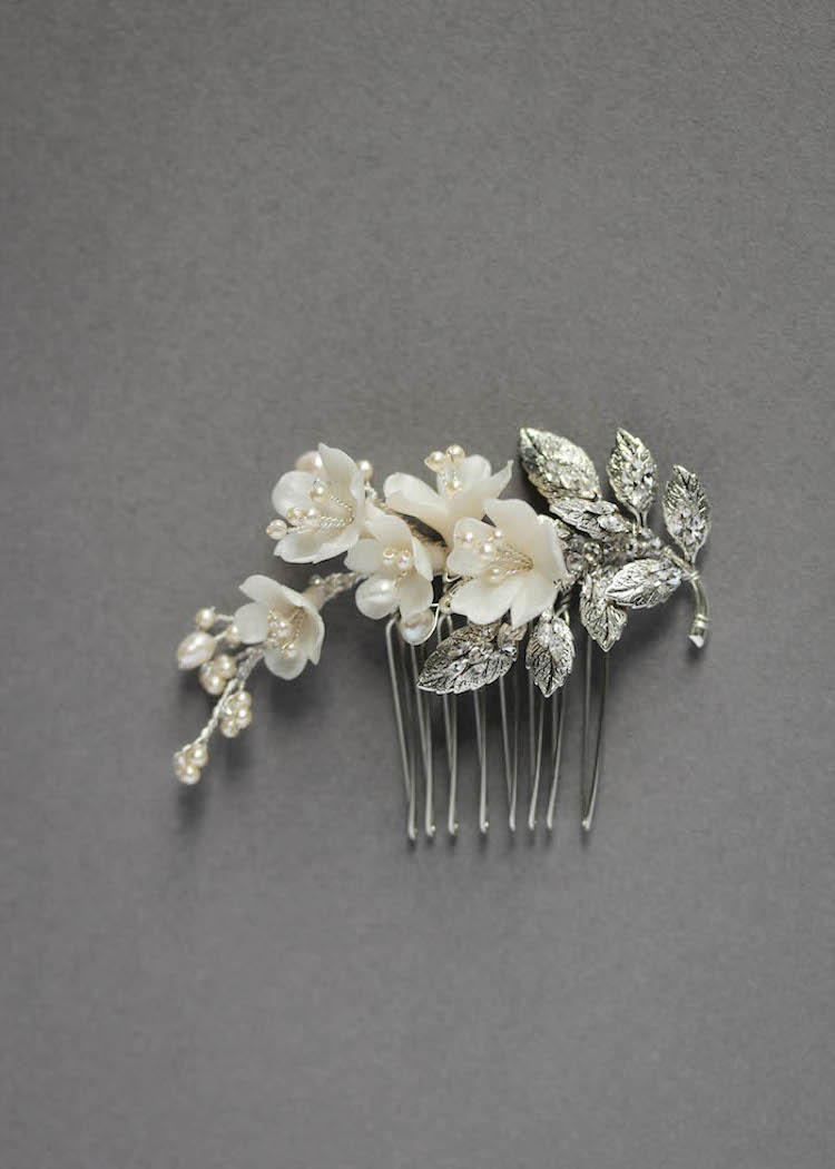 Delicate bridal hair pins for the modern bride_MARQUISE side wedding comb 2