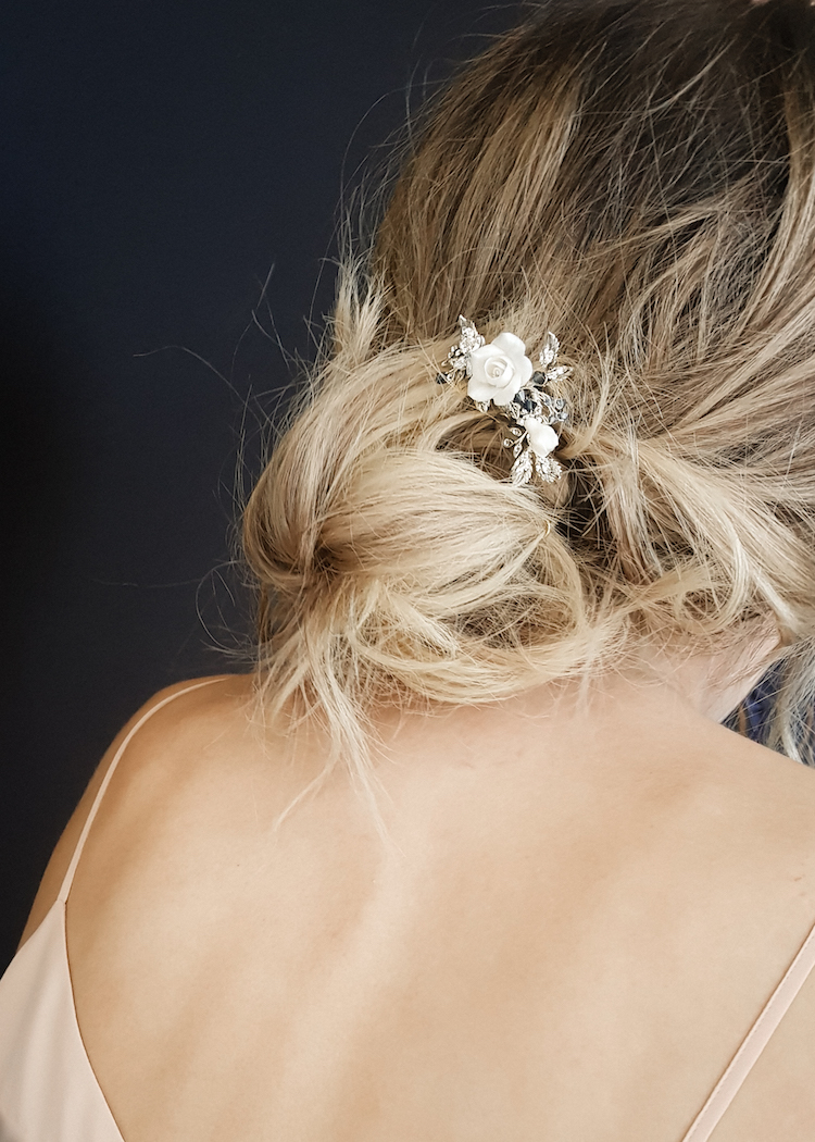 Delicate bridal hair pins for the modern bride_MAYBELLE floral hair pin 12