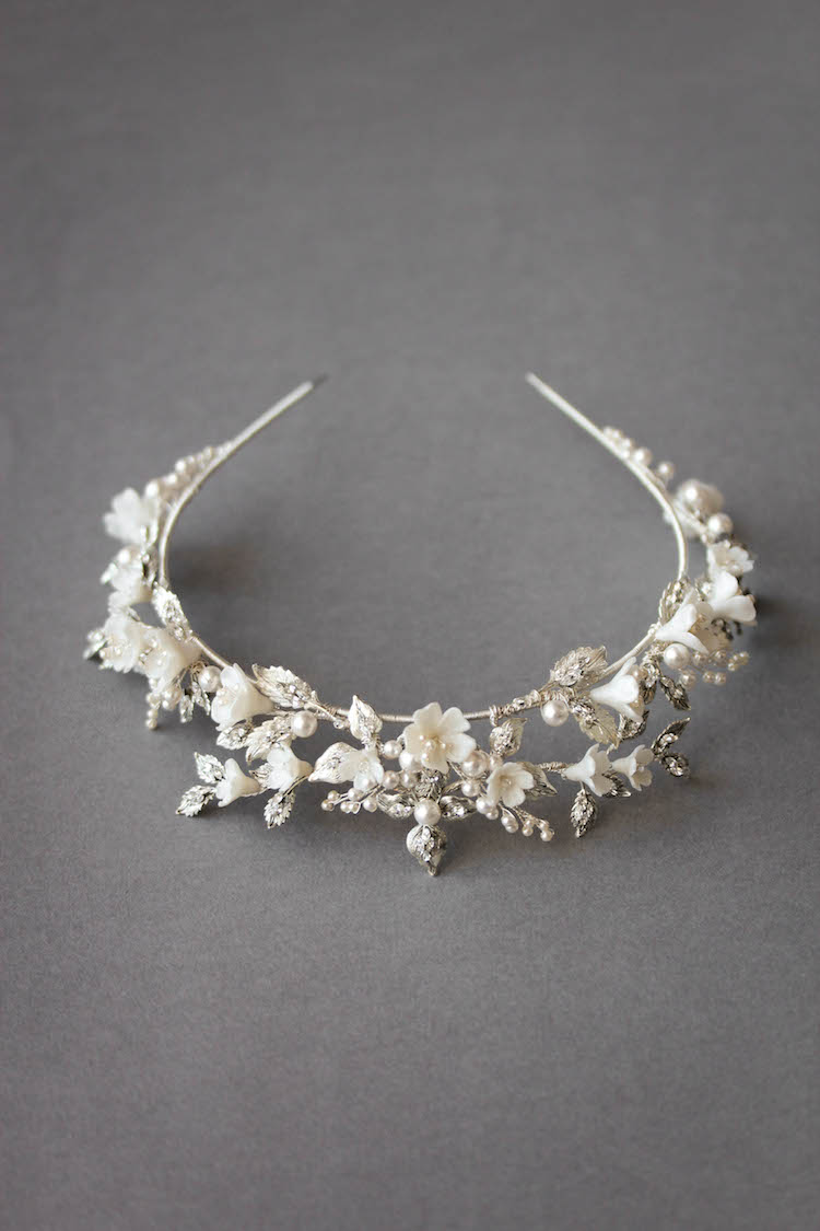 AFTERNOON SOIRÉE_enchanted floral bridal tiara with crystals 10