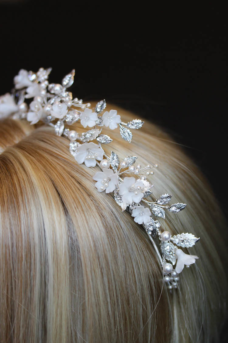 AFTERNOON SOIRÉE_enchanted floral bridal tiara with crystals 8