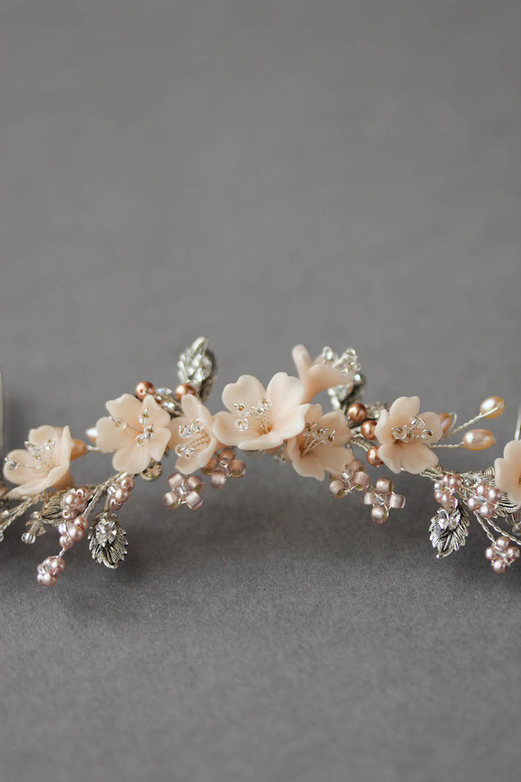 Bespoke for Jessica_silver blush bridal hair vine 3