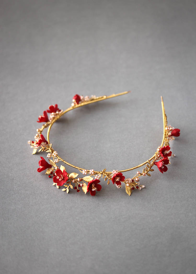 HARVEST red gold wedding crown 1