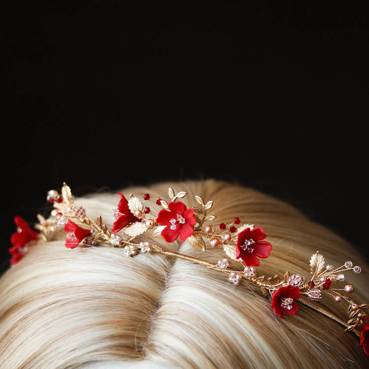 HARVEST red gold wedding crown 12