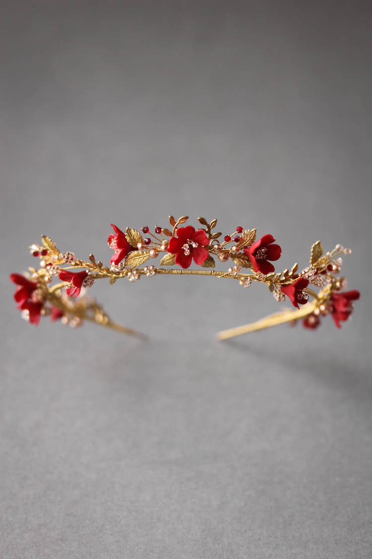 HARVEST | A ruby red, blush and gold wedding crown for the unique bride