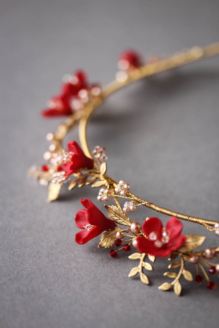HARVEST red gold wedding crown 6