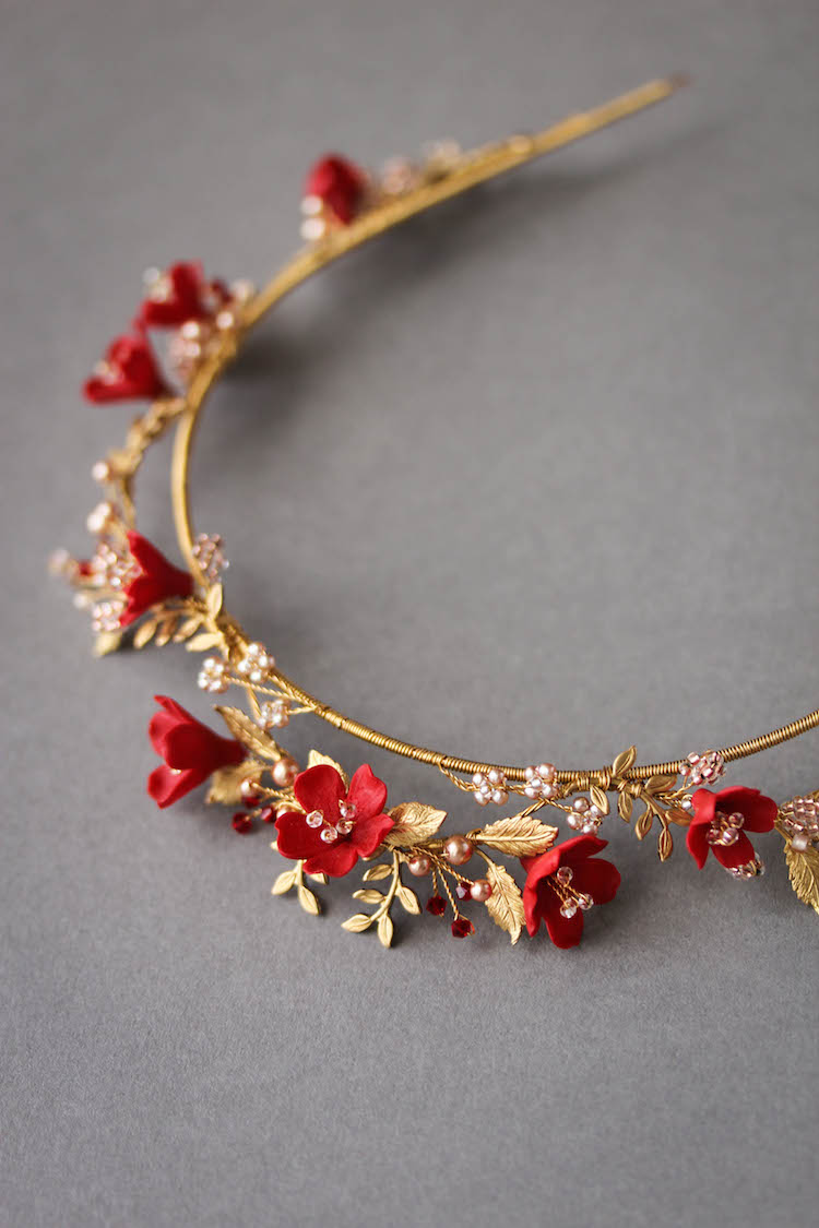 HARVEST red gold wedding crown 8