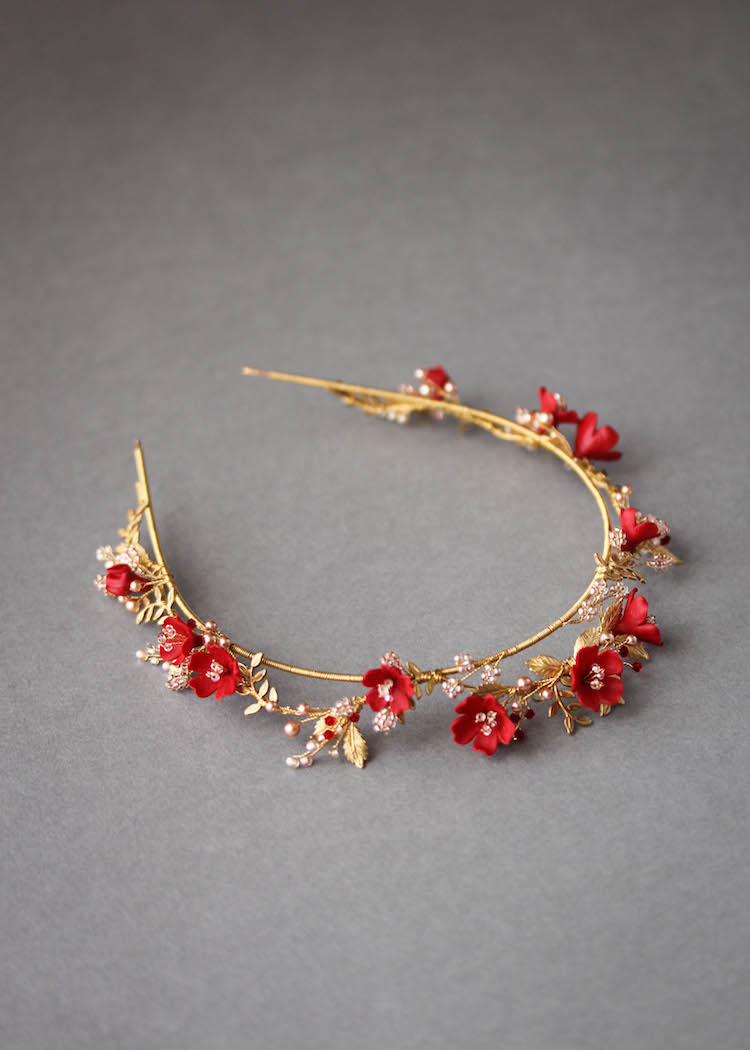 HARVEST red gold wedding crown 9