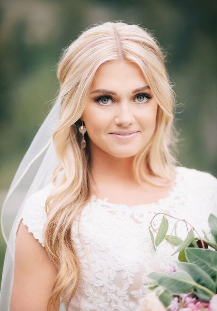 Our favourite wedding hairstyles with veils_half up hair with veil 3