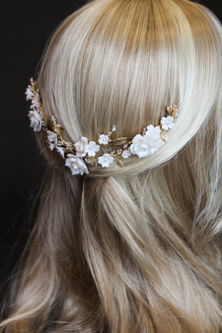 Midnight Bouquet | A gold wedding headpiece with wild roses and dogwood flowers