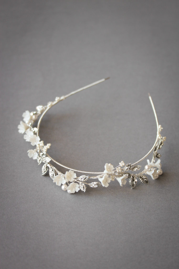 ABIGAIL floral wedding crown in silver 2