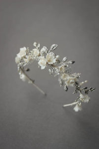 BESPOKE for Nancy_silver Gabriel floral wedding crown 1