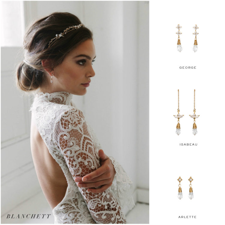 High neckline_wedding crown and earring suggestions