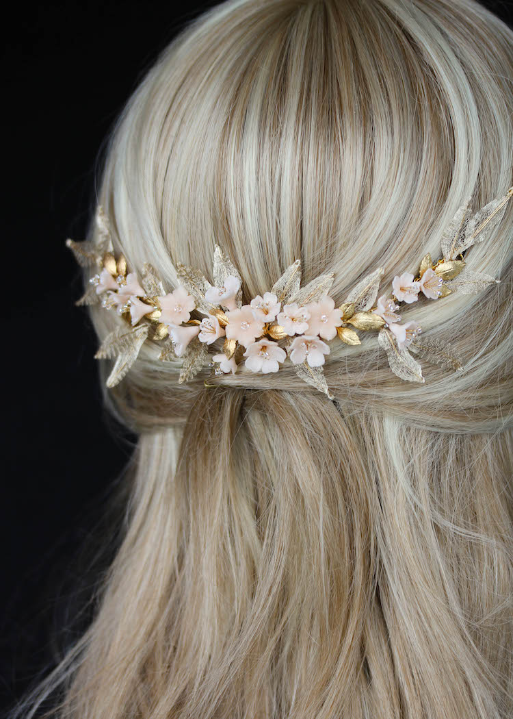 Blush Tints | A gold and blush floral wedding headpiece for bride Nhi