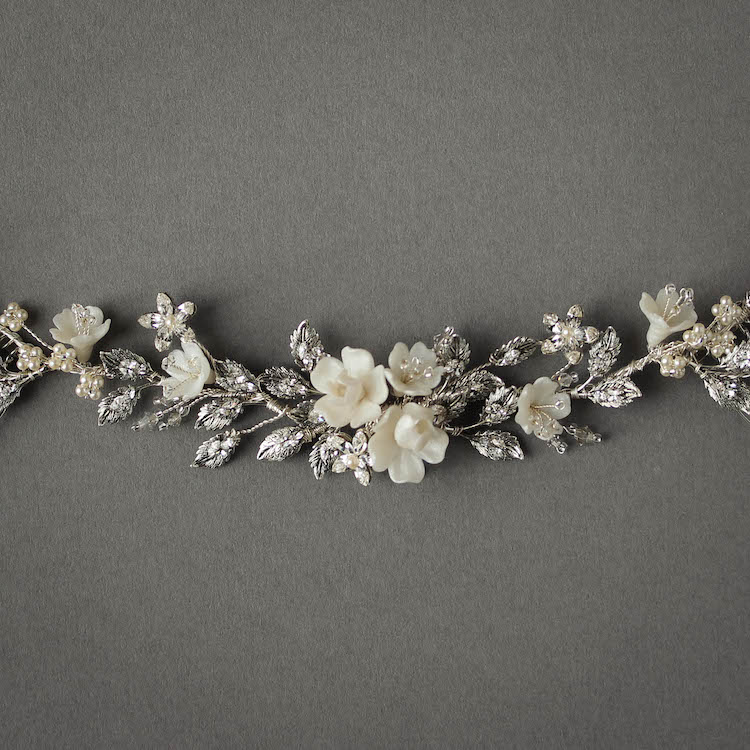 Delicate Details | A crystal hair vine for Jessica