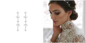 HENRI crown and XAVIER bridal earrings