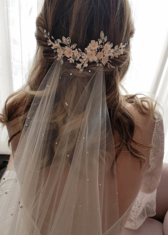 WISTERIA blush wedding headpiece 12