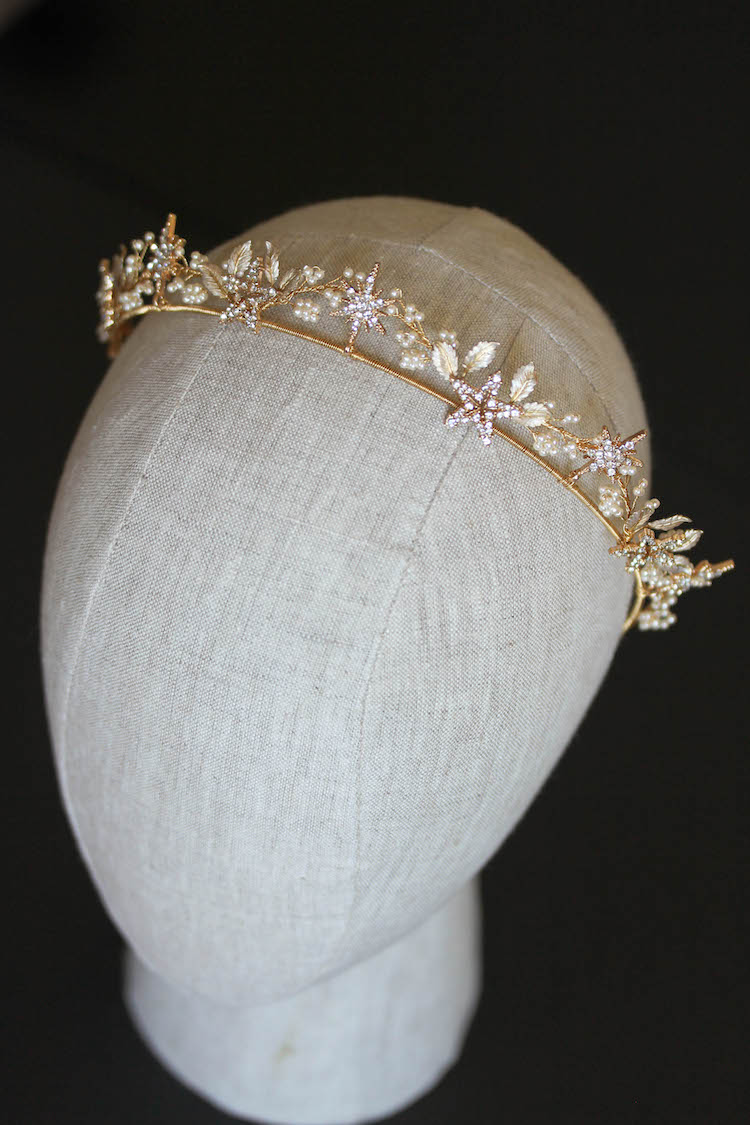 Starry Night_gold wedding crown with stars_4