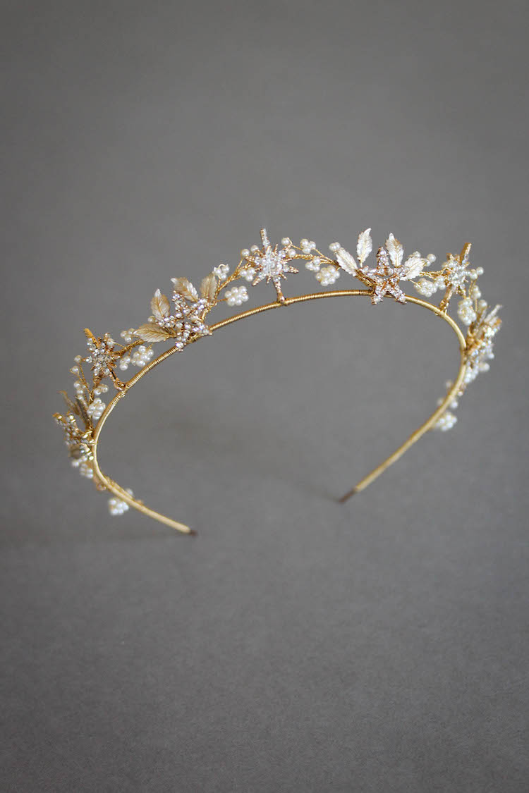 Starry Night_gold wedding crown with stars_5