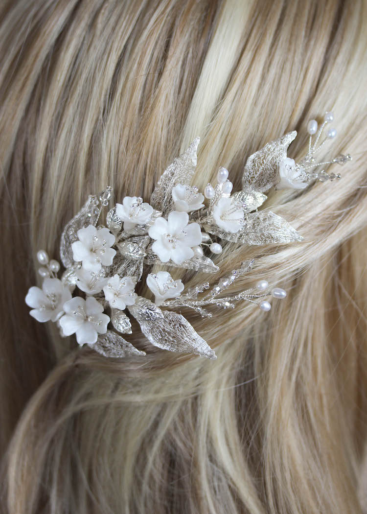 Bespoke for Thuy_a silver floral hair comb with pearls 7