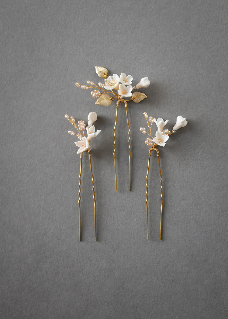 Petite Pins | Blush and pale gold floral hair pins