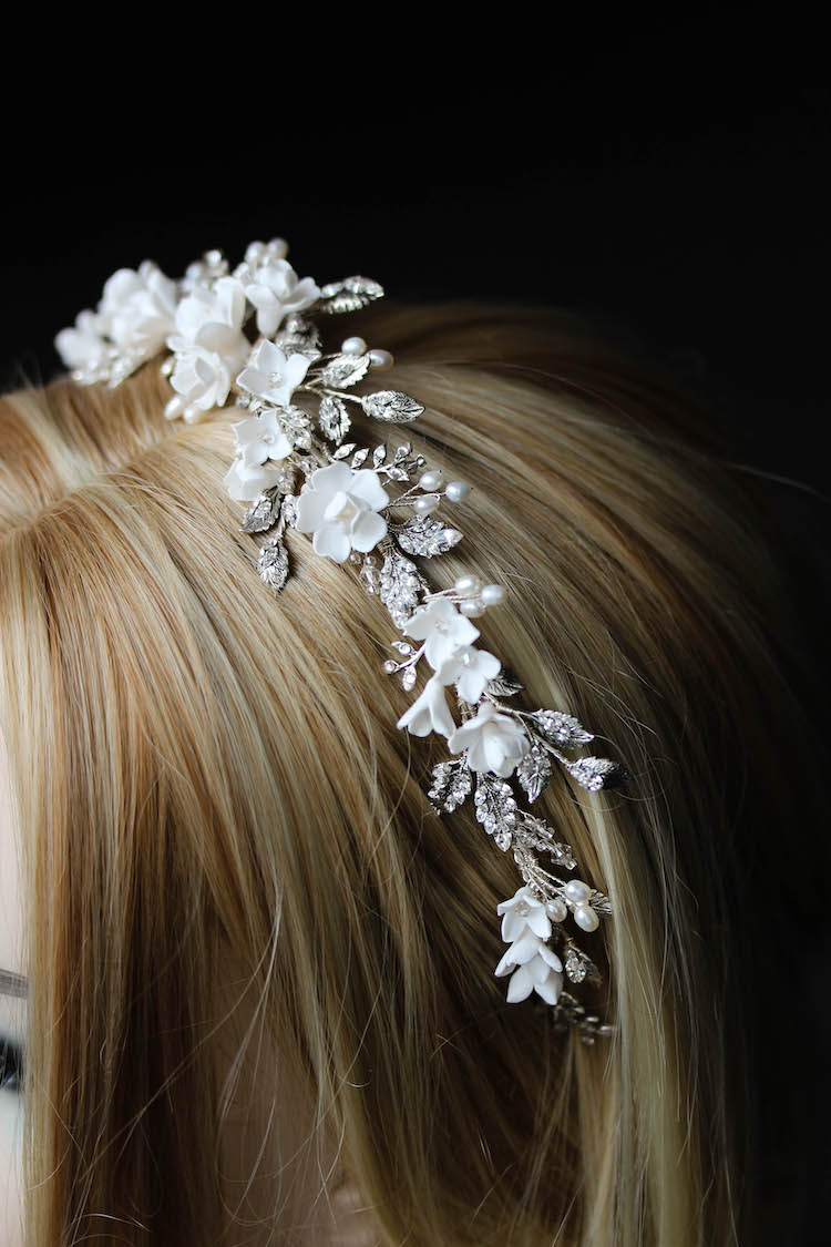 Bespoke for Samantha_silver crystal crown with white flowers 2