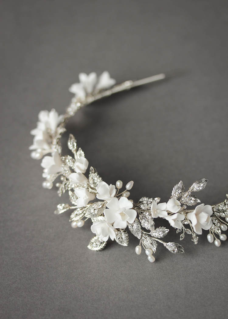 Bespoke for Samantha_silver crystal crown with white flowers 5