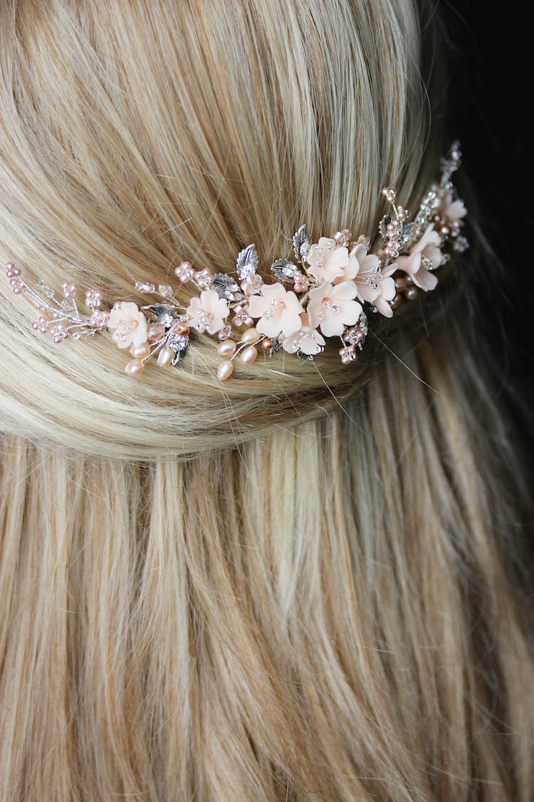 On the Eve | A bespoke blush bridal headpiece for Clara 10