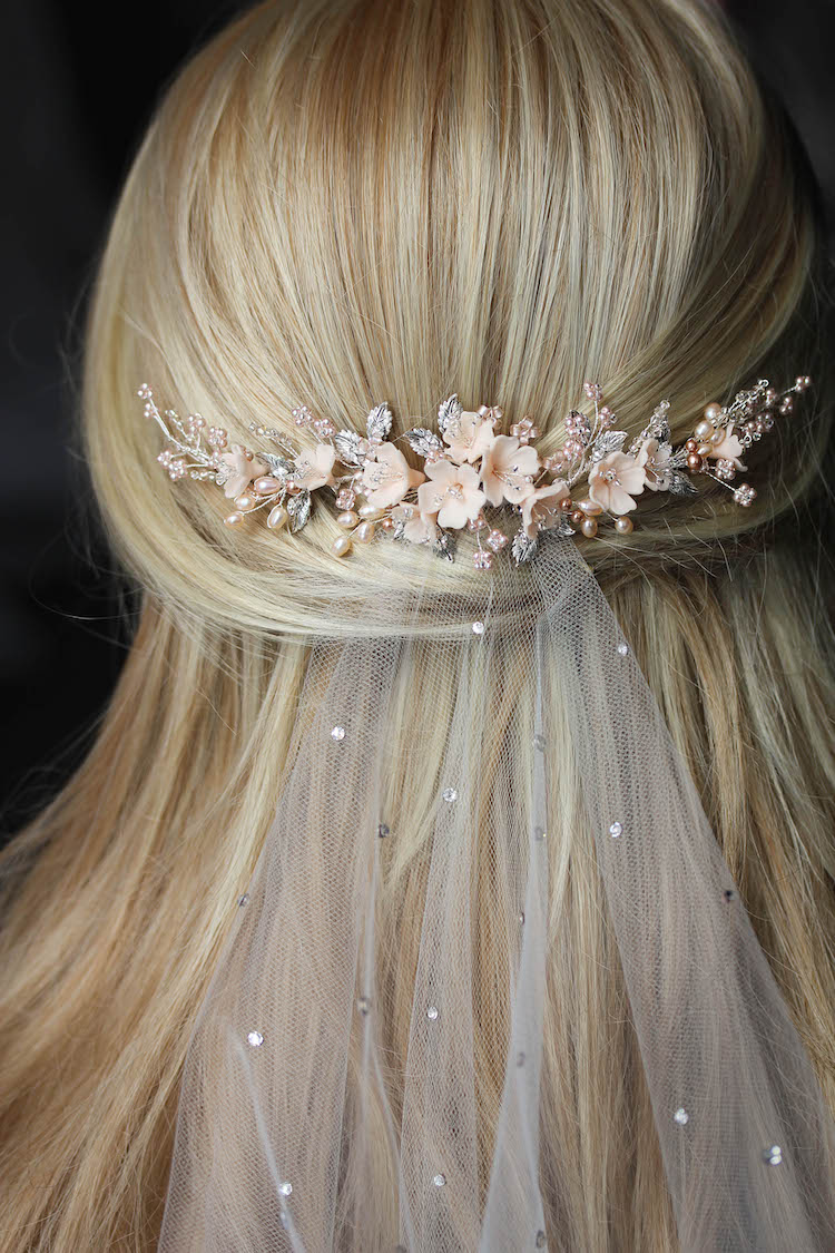 On the Eve | A bespoke blush bridal headpiece for Clara 12