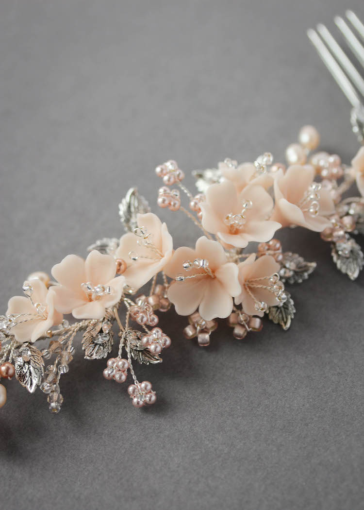 On the Eve | A bespoke blush bridal headpiece for Clara 7