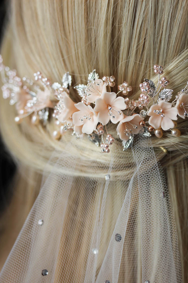 On the Eve | A bespoke blush bridal headpiece for Clara 9