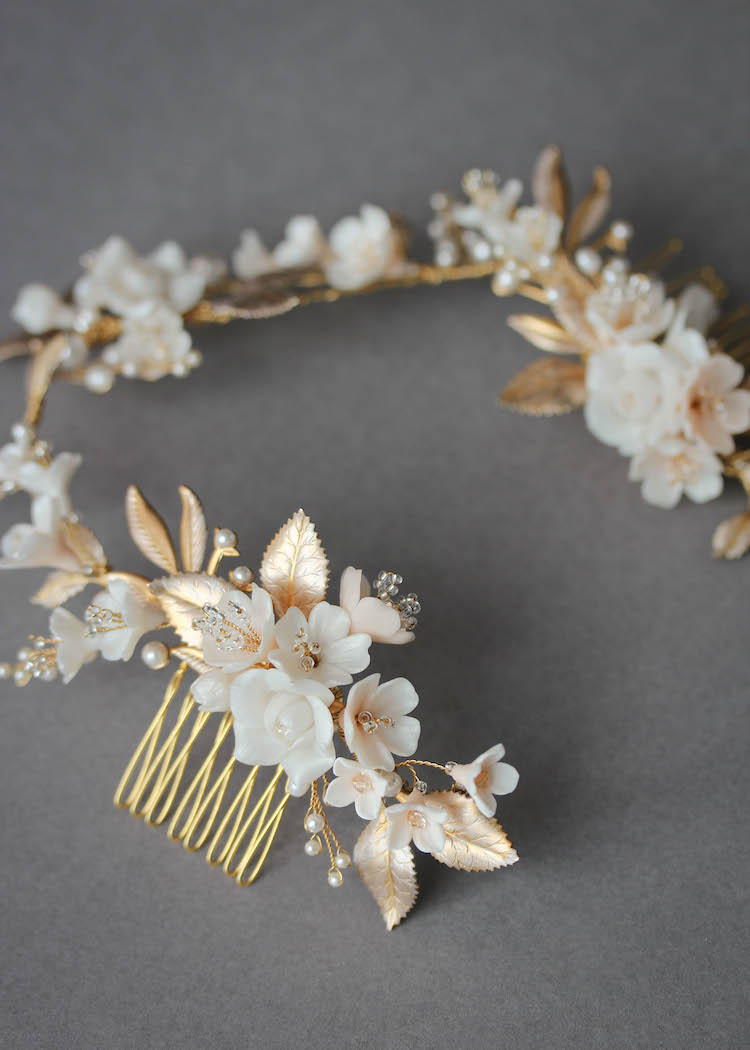 MUTED METALS | A pale gold and champagne bridal headpiece for Christina 6