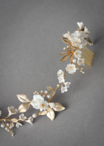 MUTED METALS | A pale gold and champagne bridal headpiece for Christina 7