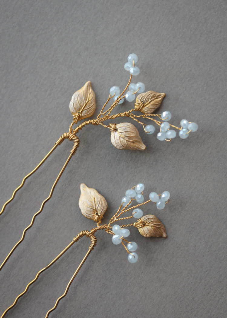 BLUEBELLS pale blue crystal hair pins 4